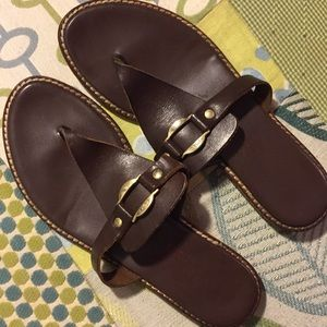 Michael Kors brown leather flip flops